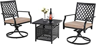 """PHI VILLA Outdoor All Weather Comfort Club Swivel Arm Chairs and 22"""" W Umbrella Dining Table"""