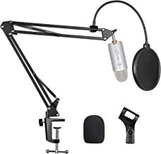 """Pipishell Microphone Suspension Scissor Boom Bracket Stand with Pop Filter and Mic Holder, 5/8""""Screw for Blue Yeti, Snowball, Spark, Yeti x and All Other Microphones"""