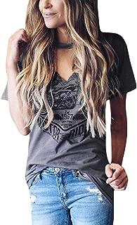 FAPIZI Womens Loose Blouse Short Sleeve Choker V Neck T-Shirt Tunics Tops Vintage Graphic Tee Shirt Blouse Top