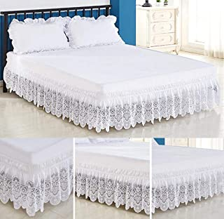 Tebery Lace Trimmed Elastic Bed Wrap Easy Fit Dust Ruffle Bedskirt (Full)