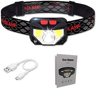 Rluobo Linterna Frontal LED USB Recargable, Linterna de Cabeza led Recargable, 8 Modos de Uso (Luz Blanca/Luz Roja/Senso...