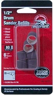 """Gator Finishing 6072 80 Grit Aluminum Oxide Drum Sanding Sleeves (6 pack), 0.5"""" x 0.5"""""""
