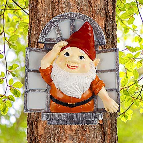 Juegoal Gnome Tree Hugger, Miniature Christmas Fairy Elf Open The Window Garden Peeker Yard Art for Tree, Outdoor Whimsical Tree Sculpture Christmas Garden Decoration