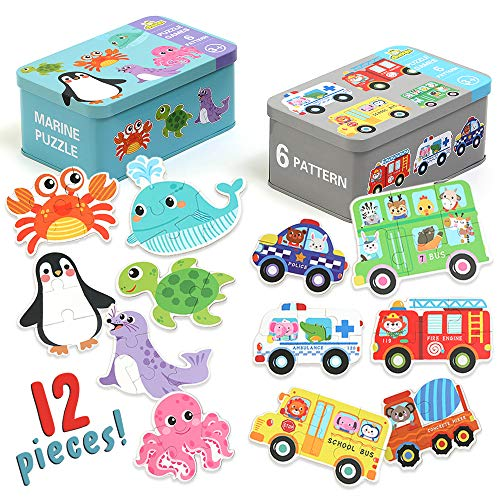 Jigsaw Puzzles for Kids Ages 2-5, Best Learning Educational Toy for 2 3 4 Years Olds, Beginner Toddler Sea Animal & Car Puzzles for Preschool - Penguin, Octopus, School Bus, Great Gift for Girl & Boy