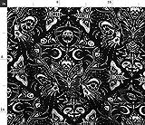 Spoonflower Stoff – Gothic Halloween Totenkopf Motte
