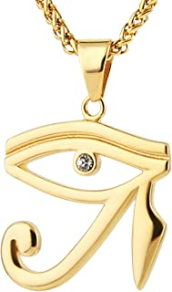 HZMAN CZ Eye of Horus Egypt Protection Pendant on Stainless Steel Necklace Ancient Egyptian Symbol of Protection