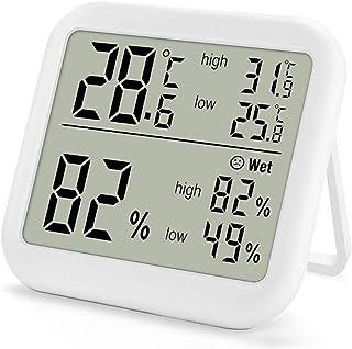 xdrfxrghjku Termómetro Digital Higrómetro Medidor De Humedad Monitor MAX Min Record para Invernadero Interior Hogar Blanco
