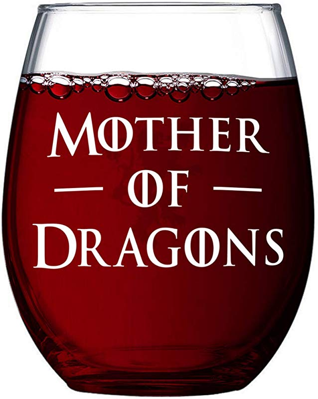 Game Of Mother Of Dragons Thrones Premium 15oz Stemless Wine Glass Gift Box Stemless Wine