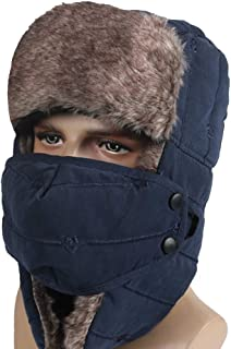 Leories Trapper Hat with Lovely Cat Embroidery Windproof Hunting Hat with Mask Warm Ear Flap Hats for Men Women Ideal for Outdoor Sports Skiing