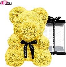 U UQUI Yellow Rose Bear Teddy Bear Cub Forever Artificial Rose Anniversary Birthday Valentines Gift(10