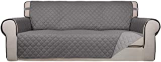 Best PureFit Reversible Quilted Sofa Cover, Water Resistant Slipcover Furniture Protector, Washable Couch Cover with Non Slip Foam and Elastic Straps for Kids, Dogs, Pets (Sofa, Gray/LightGray) Review