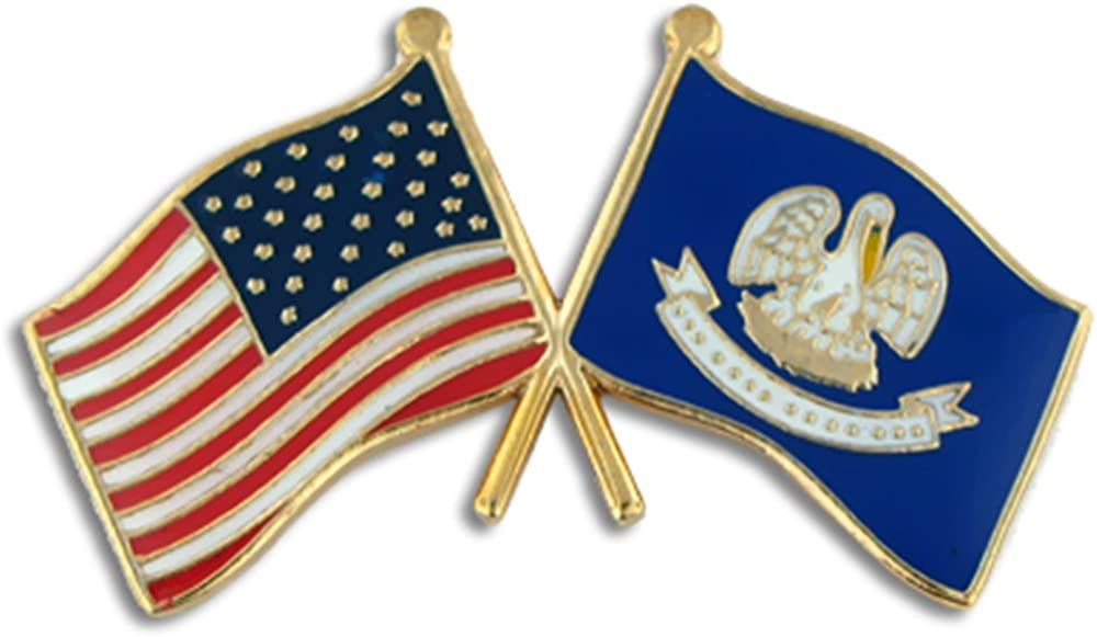 PinMart Louisiana and USA Crossed Friendship Flag Enamel Lapel Pin