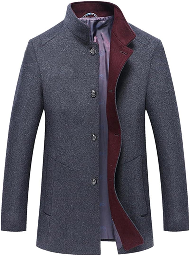 Men Wool Stand Collar Male Peacoat Single Breasted Woolen Coats Warm Wool & Blends