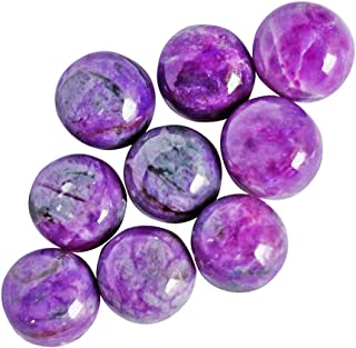 Authentic Gems 7MM 5 PCS LOT of Genuine Sugilite Gemstone Round Shape Cabochon Supplier, Making Jewelry Stone