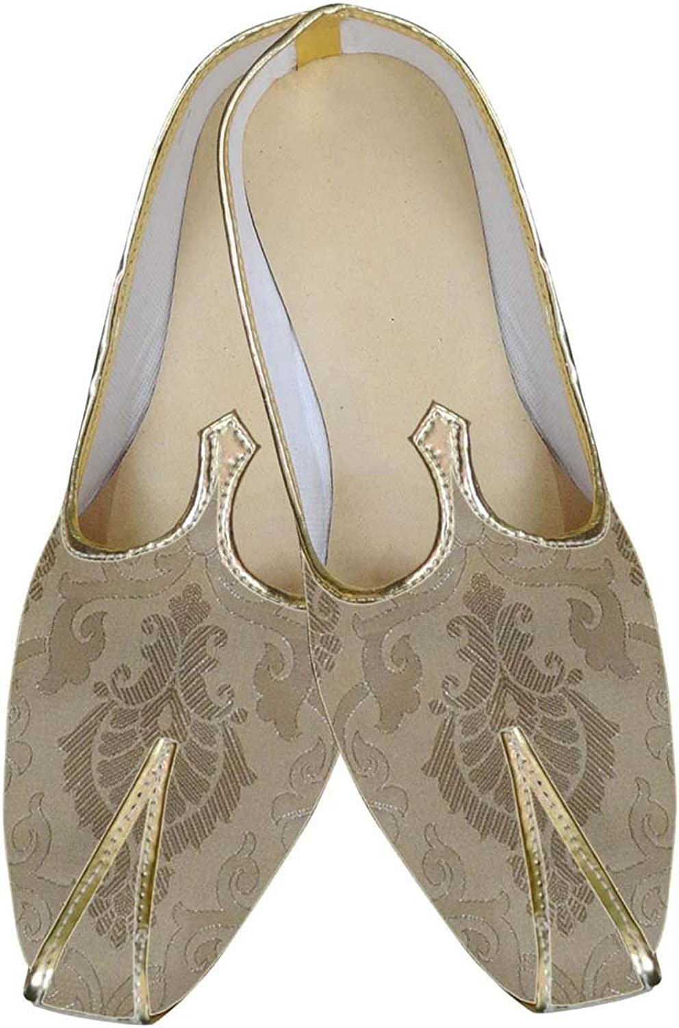 INMONARCH Mens Cream Ivory Brocade Two Tone Wedding shoes MJ0067