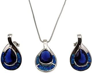 Teardrop Sterling Silver Necklace Earring Blue Opal Ocean Sapphire Jewelry