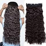 22'(55cm) Extensiones de Cabello Clip Una Pieza Pelo Sintetico Se Ve Natural Rizado Ondulado Corn Wave Hair Extensions (120g,Castaño Oscuro)