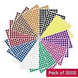 1cm Runde Punktaufkleber Farbkodierung Etiketten Markierungspunkte - 10 Farben, 3000 Stück