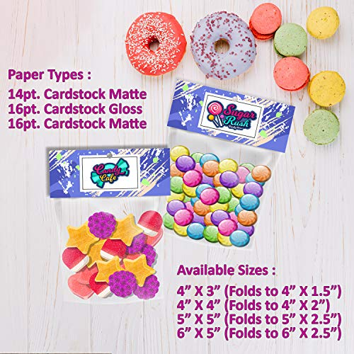 Aangepaste Printable Bag Topper Promotionele Label Header Kaarten Ronde Peg Gat voor Candy Treat, Favor Tassen Leveringen, Verjaardag, Evenementen 4