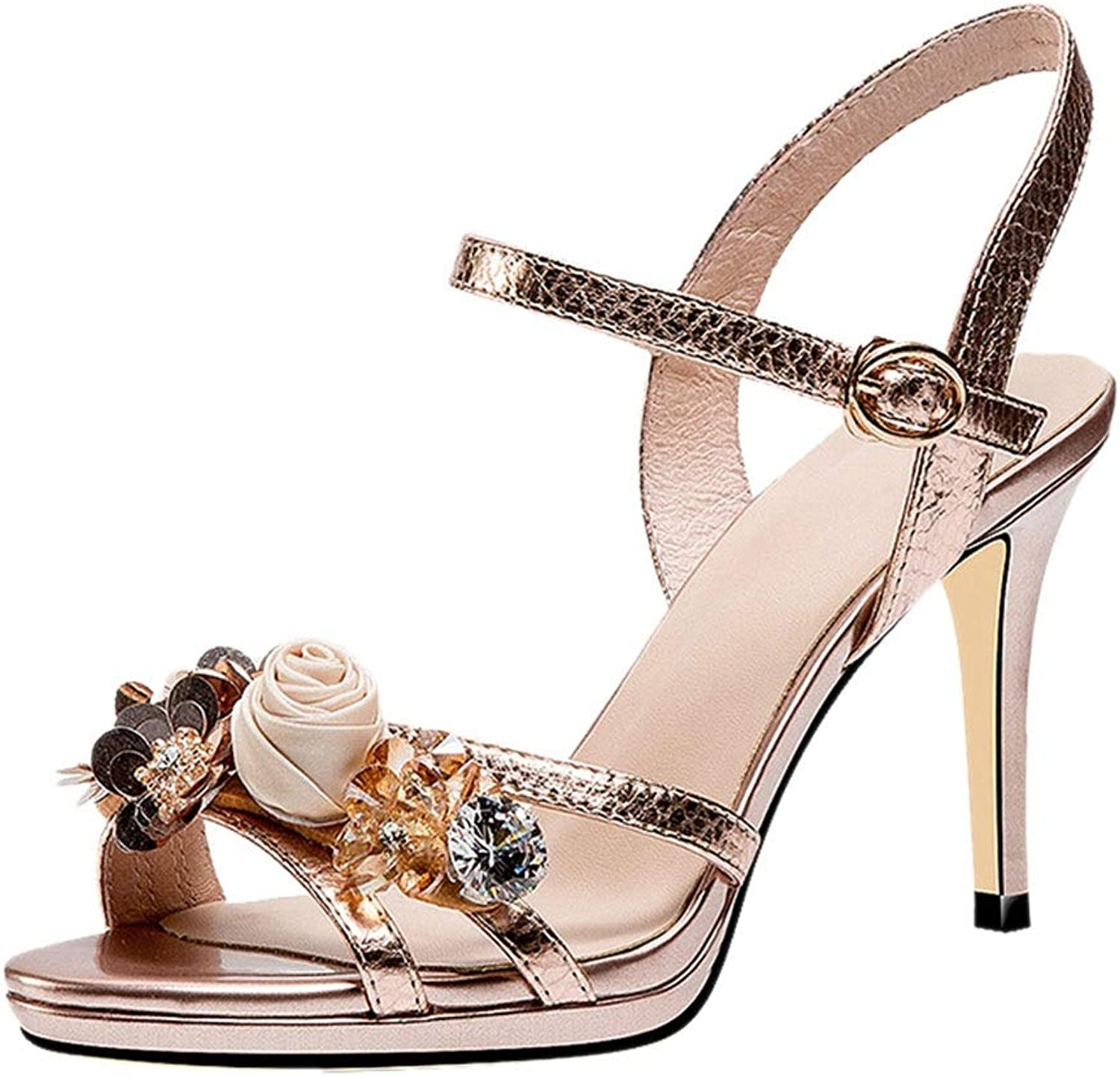 Sandals Sandals Summer Leather High Heel Sandals with A Flower Stiletto Open Toe Rhinestone Sandals Dating shoes, High Heels 8.5cm (color   gold, Size   37)