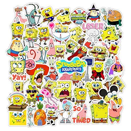 [FOCUS's Stickers]50Pcs Spongebob Cartoon Stickers for Laptop Cellphone Water Bottle Hydro Flask Skateboard Luggage Car Bumper, etc FJHSL