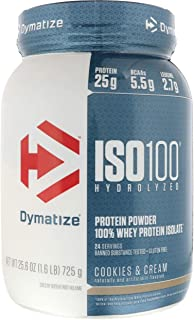 Dymatize ISO 100 Hydrolyzed Whey Protein Powder Isolate, Cookies and Cream, 1.6 Pound