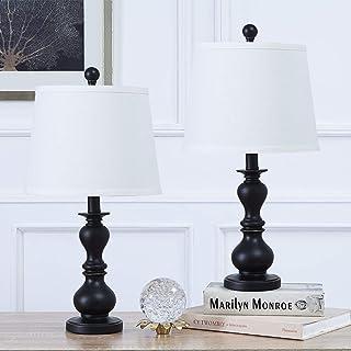 Pauwer - Juego de 2 lámparas de mesa con interruptor, lámpara de noche moderna en resina negra, lámparas de escritorio con pantalla de tela blanca, lámparas de noche para dormitorio(En blanco y negro)