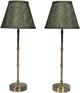 Urbanest Set of 2 Antique Bronze Bamboo-Style Table Lamps with Shades