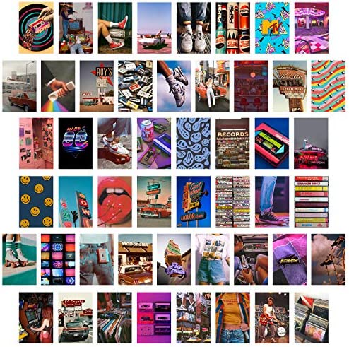 CY2SIDE 50PCS Retro 80s Aesthetic Picture for Wall Collage 50 Set 4x6 inch Colorful Collage product image