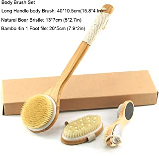AGGICE Body Brush Set-Natural Bristle Shower Brush, Long Handle Body Brushes, Bamboo 4 in 1 Foot File Callus Remover, Improves Blood Circulation,Exfoliation, Skin Health (3 SETS)