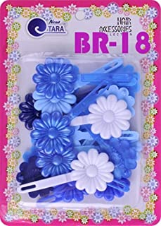 Tara Girls Self Hinge Plastic Flower Hair Barrettes 18 Pieces Selection (Blue Mix)