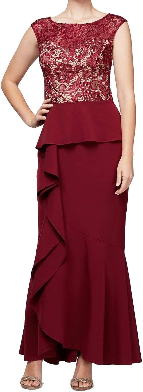 Alex Evenings Women's Long A-Line Detailed Bodice Dress