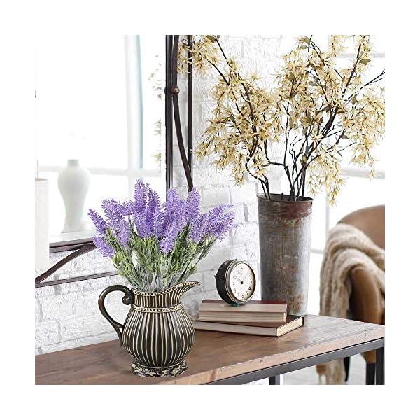 XHXSTORE 4pcs Flores Artificiales Lavanda 7 Cabezas de Plastico Ramo Lavanda Púrpura Planta Lavanda Artificial para…