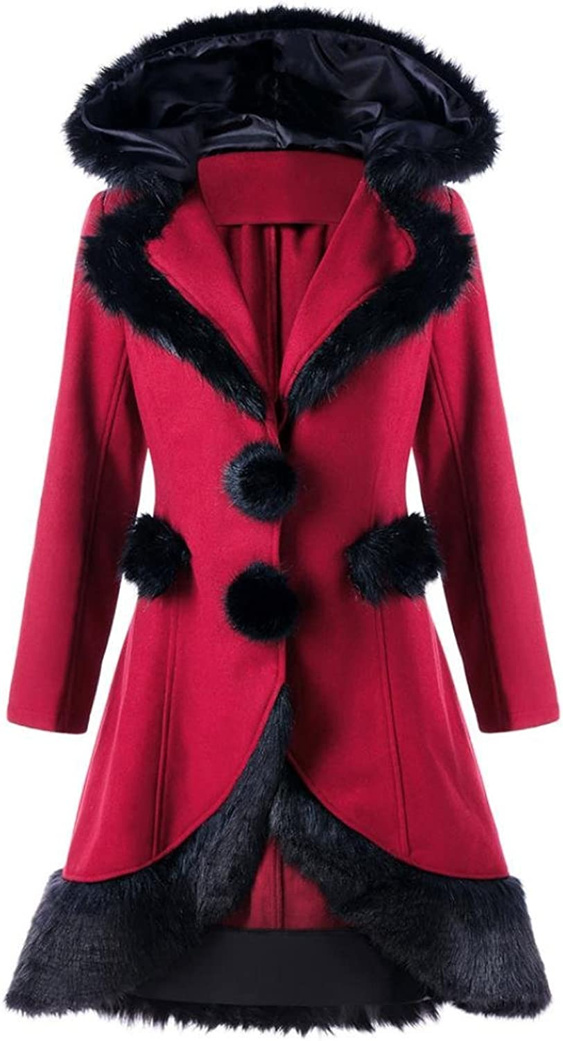 Elogoog Womens Vintage Faux Fur Hoodie Coat Slim Fit Long Woolen Thick Parka Overcoat