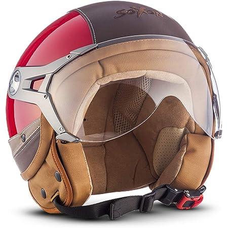 Soxon Sp 325 Urban Red Jet Helm Motorrad Helm Roller Helm Scooter Helm Moped Mofa Helm Chopper Retro Vespa Vintage Pilot Ece 22 05 Visier Leather Design Schnellverschluss Tasche M 57 58cm Auto