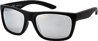 La Optica B.L.M. - La Optica Gafas de Sol LO8 UV400 Deportivas da Hombre y Mujer, Mate Negro (Lentes: plata espejada)