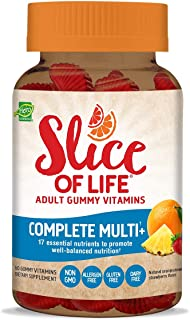 Slice of Life Gummy Vitamin Supplement for Adults, Complete Multi-Vitamin, 60 Gummy Slices