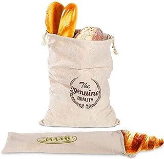 Wiederverwendbarer Brotbeutel Brottasche aus Natürlichem Leinen Umweltfreundliche Einkaufstasche Brötchenbeutel mit Kordelzug für Brot Baguette Selbstgemachtes Brot und mehr Lebensmittel, 2 Stück