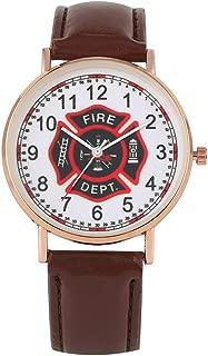Creative Fire Brigade Logo Watch Classic Pin Buckle Leather Strap Watches Fashion Rose Gold Case Quartz Wristwatch