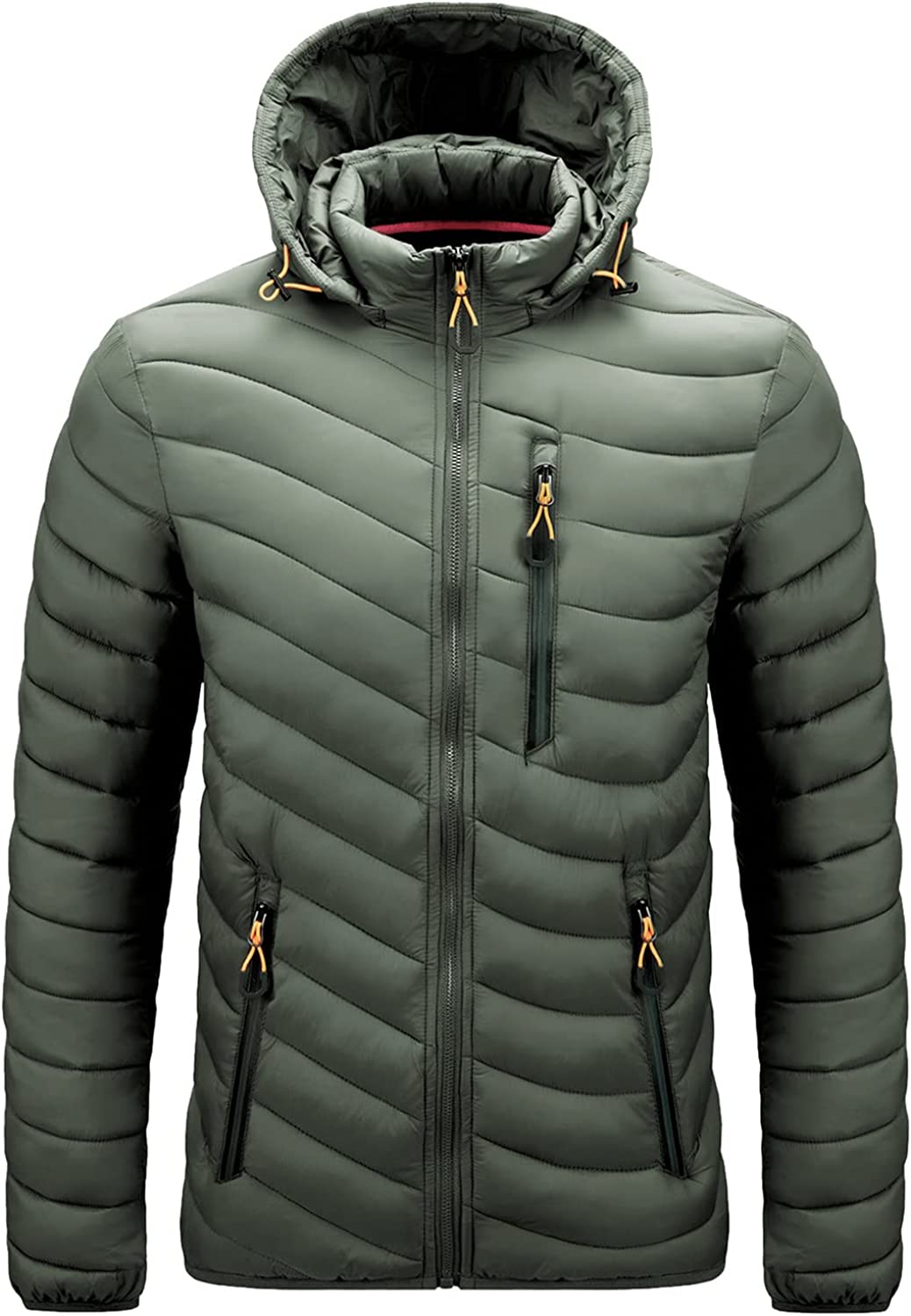 Down Jackets for Men Big and Tall Lightweight Packable Full-Zip Puffer Coat Hooded Feather Jackets Outwear