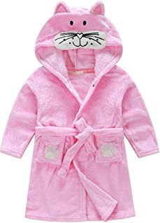 Kids Little Boys Girls Coral Fleece Bathrobe Unisex Kids Robe Pajamas Sleepwear