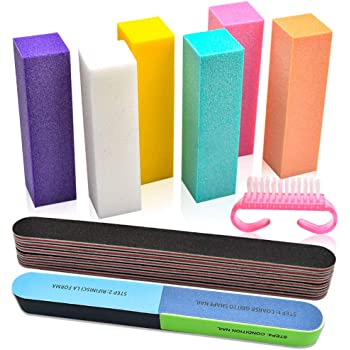 Professional Nail Files and Buffers Kit, 100/180 Grit Emery Boards for Nails, Colorful 4 Sides 120 Grit Nail Buffer Blocks, 7 Way Nail File Block with Finger Nail Brush for Salon Nail Art (14 PCS)