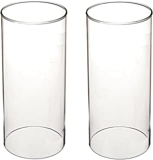 SG Clear Candle Holder Glass Cylinder Vase Glass Chimney Lamp Shade Candle Holder Open End Open 2.8