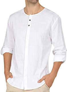 Mens Linen Cotton Collarless Henley Shirts Baggy Casual Grandad Shirt Lightweight Button Neck Summer Lounge Tops Long Slee...