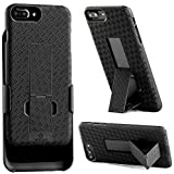 iPhone 8 Plus, iPhone 7 Plus Holster, WizGear Shell Holster Combo Case for Apple iPhone 7 Plus with Kick-Stand and Belt Clip - Black (iPhone 7/8 Plus)
