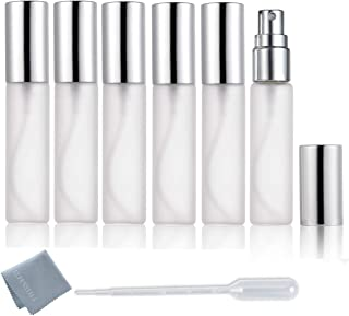ELFENSTALL- 6pcs Fine Mist Frosted 10ml 1/3OZ Atomizer Silver Glass Bottle Spray Refillable Fragrance Perfume Empty Scent Bottle for Travel Party Portable Free 3ML Free Pipette