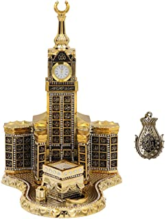 Modefa Islamic Turkish Table Decor Showpiece Gift Sculpture Figure Arabic 99 Names of Allah Kaba Clock Tower Replica Gold