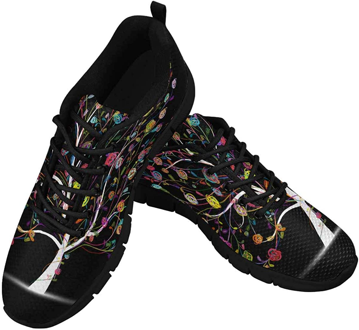 INTERESTPRINT Colorful Foral Tree Women's Lace Up Breathable Non Slip Sneaker