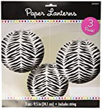 Zebra Round Paper Lanterns| Pack of 3| Party Decor