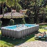 Intex Ultra XTR Frame Swimming Pool rechteckig 732 x 366 x 132 cm Schwimmbecken 26364 Komplett-Set mit Sand-Filteranlage sowie Extra-Zubehör wie: Luftmatratze